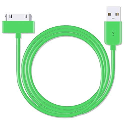 USB-Daten- und Ladekabel für Apple iPhone 4 / 4S / 3G / 3GS / Apple iPad 1. / 2. / 3. / iPod 5. Generation / Classic Nano 1. / 2. / 3. / 4. / 5. / 6. Generation, extra lang, 3 m, Grün