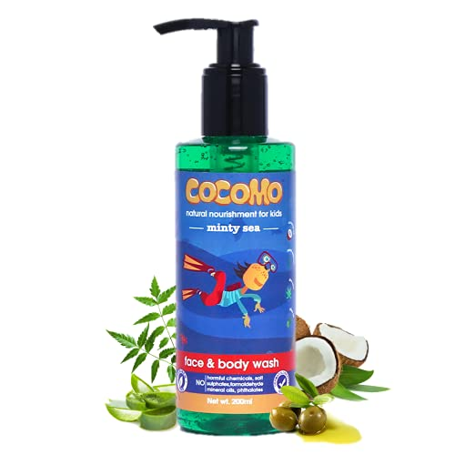 Cocomo Natural Olive & Coconut Oil Kids Face & Body Wash, Minty Fragrance, Soft & Healthy Skin | Minty Sea 200ml (Age: 4+)