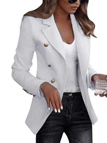 Shallood Damen Elegant Langarm Blazer Sakko Einfarbig Slim Fit Revers Geschäft Büro Jacke Kurz Mantel Anzüge Bolero Mit Knopfleiste Military Coat Blazer A Weiß 36