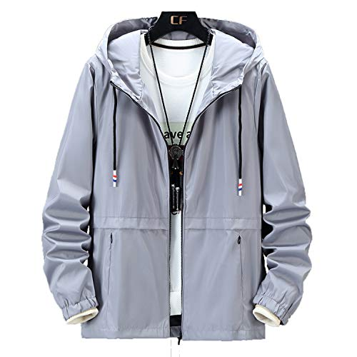 OCEANLUX Windbreaker for Men Plus Size Casual Bomber Jacket Fashion Rain Jacket Waterproof Cycling Jacket Hoodie Jacket Gray XXL