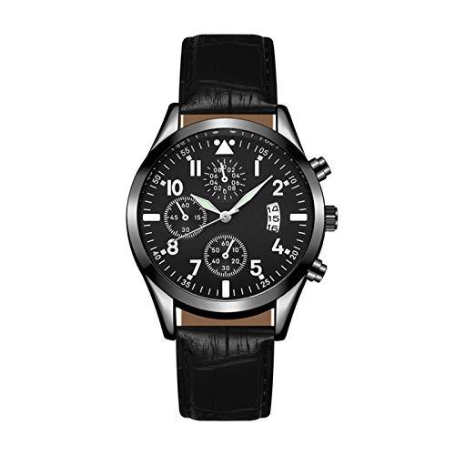 JINSUO Xiaobingjiaju Reloj de Pulsera de Cuarzo Relojes de Hombre Luminoso Calendario clásico Mens Business Steel Watch Relogio Masculino Popular Saati Ho (Color : 05 Leather Black)