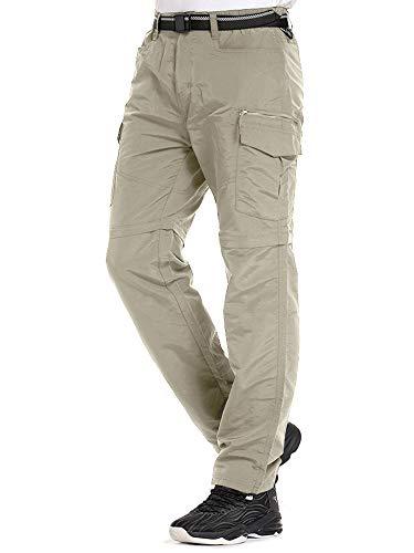 Mens Hiking Pants Convertible Quick Dry Lightweight Zip Off Outdoor Fishing Travel Safari Pants (Z6055 Light Apricot, 32)
