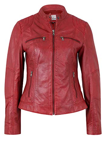 7eleven Damen Lederjacke Miracle in coolem Design Blood red (3617), M/38