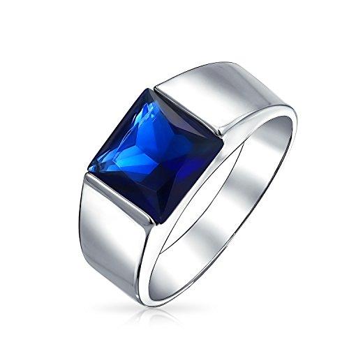 Bling Jewelry 3Ct Plaza Marquesa Solitario Simulada De Azul Zafiro CZ Compromiso Pinky Anillo De para Hombres
