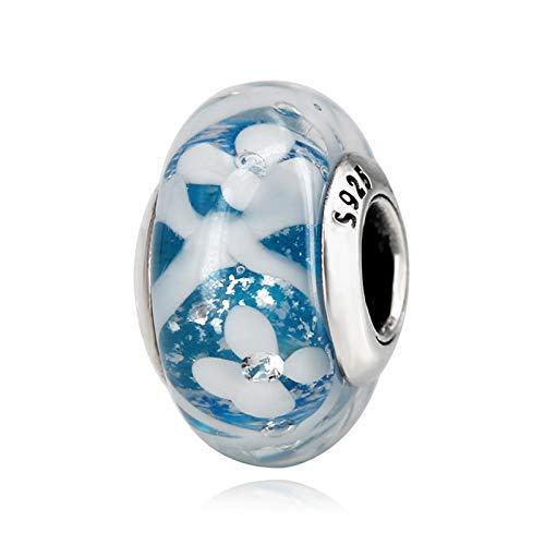 JINGGEGE Jengijo Auténtico 925 Plata esterlina Azul/Rosa/floración de Vidrio con Gotas de Vidrio en Forma Original Pulsera Brazalete de Bricolaje de Bricolaje (Color : Blue)