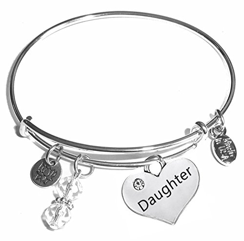 Message Charm (Choose Message) Expandable Wire Bangle Bracelet, in the Popular Style (Daughter)
