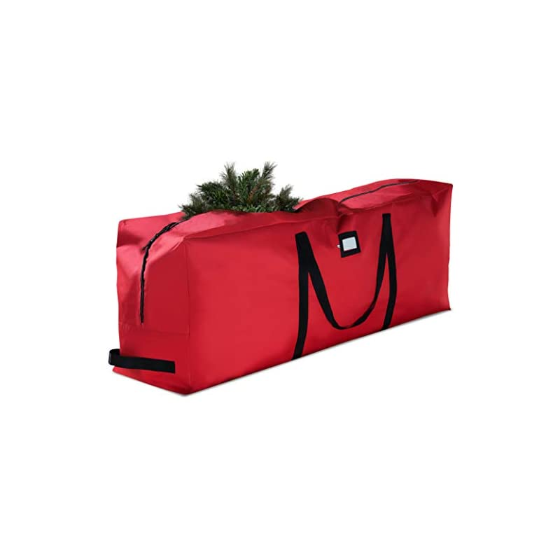 silk flower arrangements premium large christmas tree storage bag - fits up to 9 ft. tall artificial disassembled trees, durable handles & sleek dual zipper - holiday xmas bag made of tear proof 600d oxford - 5 year warranty