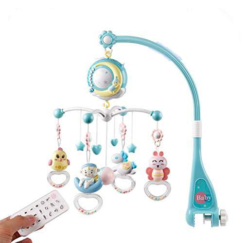 Bebé musical cuna móvil con función de sincronización proyector y luces, sonajeros giratorios colgantes y control remoto juguete musical para el sueño recién nacido