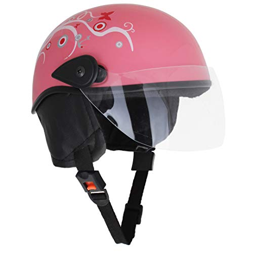 Sage Square Scooty Half Helmet for Men, Women (Medium, Pink Glossy Sticker...