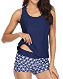 Yonique Athletic 3 Piece Tankini Swimsuit for Women Modest Swimwear with Boyshort Tank Top with Bra and Shorts Blue L
