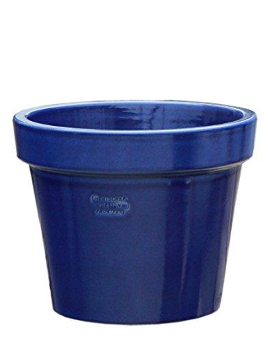 Hentschke Keramik Pflanztopf/Pflanzkübel frostsicher Ø 25 x 21 cm, Effekt blau, 115.025.64 Blumenkübel für Draußen + Innen - Made in Germany
