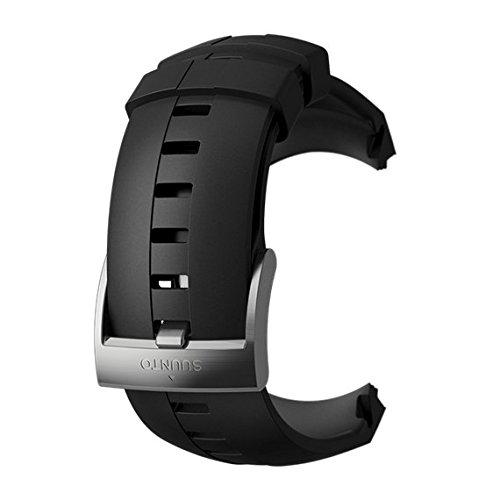 Suunto, Original Ersatz-Uhrenarmband für alle Suunto Sparten Sport Uhren, Silikon, Länge: 24,5 cm, Stegbreite: 25 mm, Schwarz/Silber, Inkl. Stifte zur Montage, SS022927000
