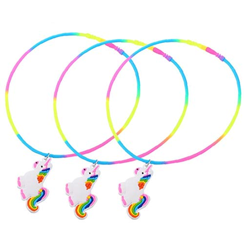 Nicedier-Tech 3pcs De PVC Animal Silicón del Arco Iris Fiesta De Cumpleaños Animal del Collar De Los Favores De Fiesta Animal para Niños De Los Niños