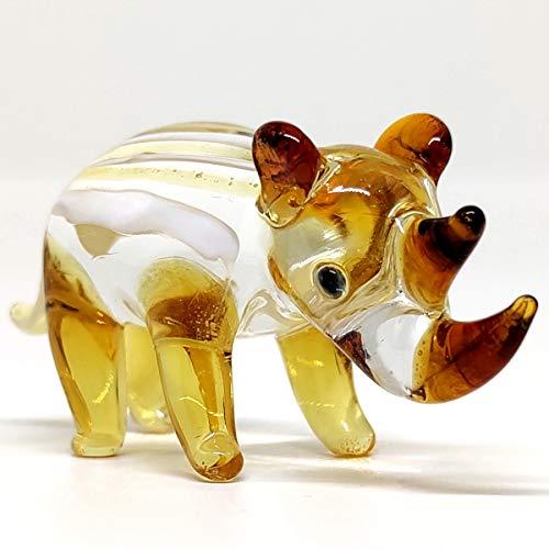 Sansukjai Nashorn, Miniatur-Figuren, mundgeblasen, Glaskunst, Tiere, Sammlerstück, Geschenk, Heimdekoration, Bernstein