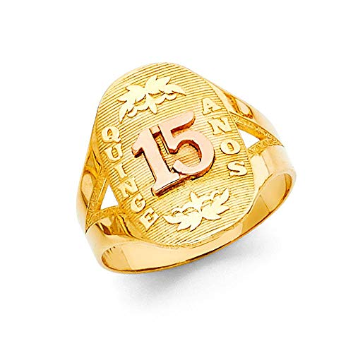 14ct Yellow Gold and White Gold Quinceanera Sweet 15 Years Ring Size N 1/2 Jewelry Gifts for Women
