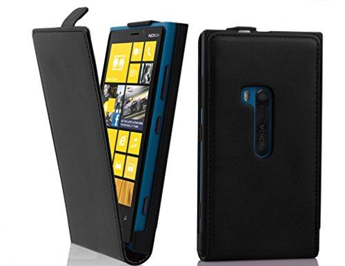 Cadorabo Custodia per Nokia Lumia 920 in NERO CARBONE - Protezione in Stile Flip di Similpelle Fine - Case Cover Wallet Book Etui