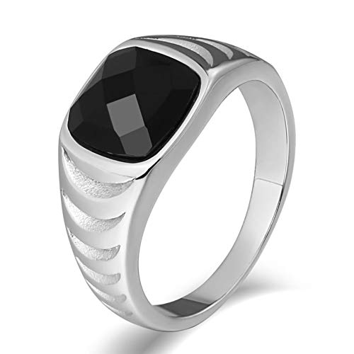 Ubestlove Punk Ring Women Stainless Steel Signet Ring Ladies Rectangle Gem Set Marquise Cubic Zirconia Ring Silver V 1/2