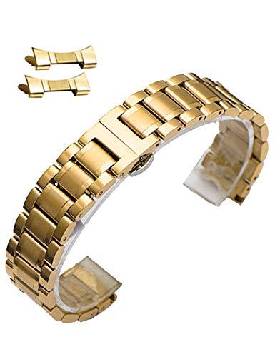 Reinherz 腕時計ベルト 腕時計バンド 替えストラップ 腕時計用 ステンレスベルト 汎用品 Dバックル付き? 交換 防水性 金属ベルト プレゼント シルバー ブラック ゴールド ローズゴールド(ゴールド18mm)