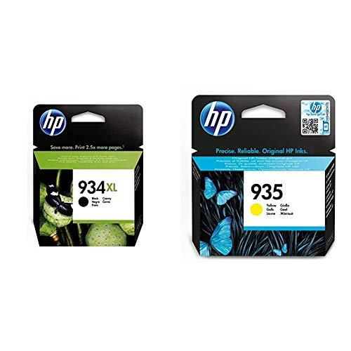 HP C2P23AE 934 Cartucho de Tinta Original de alto rendimiento, 1 unidad, negro + 935 C2P22AE, Amarillo, Cartucho Original de Tinta