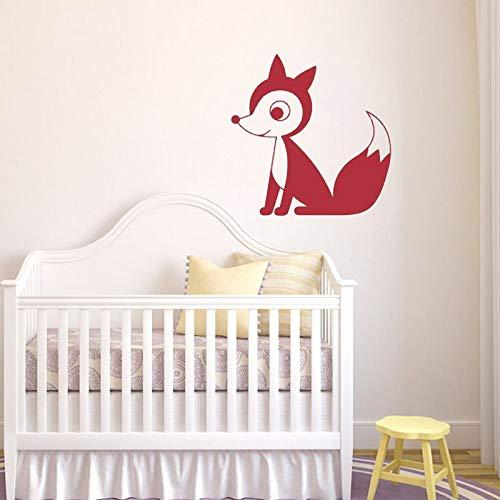 zqyjhkou Tribal Fox Vinyle Wall Decal Nursery décor Woodland Animal Stickers muraux pour Enfants Chambre de bébé Home Decoratio77x77cm