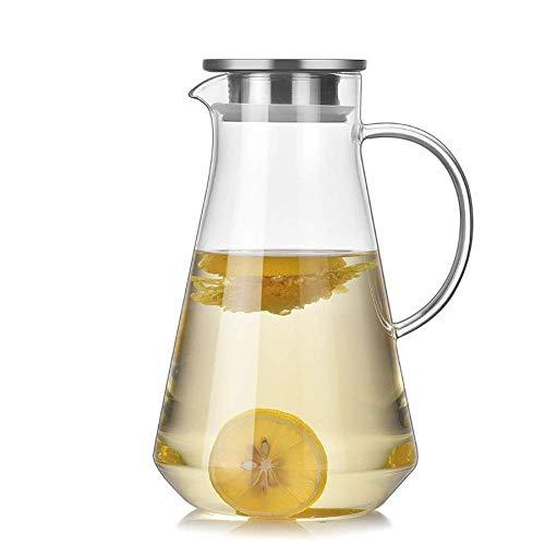 ZXL glas water karaf met roestvrijstalen deksel, 1500ml glas water Pitcher hittebestendige glas waterkruik fles voor water, melk, sap, ijsthee
