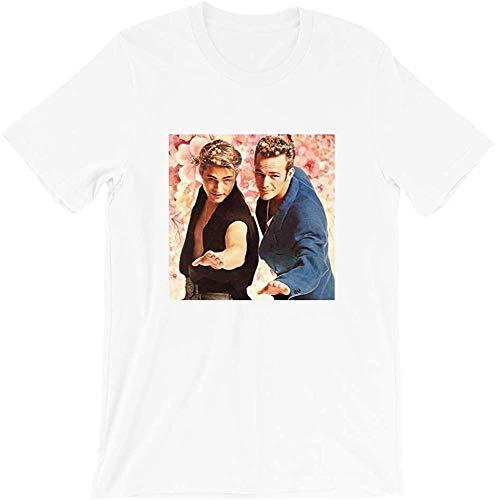 Luke Perry und Jason Priestley Forever Portrait Schauspieler Kino Vintage Geschenk Männer Frauen Mädchen Unisex T-Shirt Gr. 56, weiß