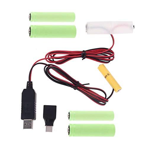 WE-WHLL 2in1 USB/Type-C Mains Convert to AA + AAA Battery Eliminator Reemplazo...