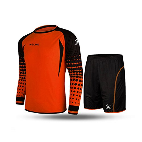 KELME Soccer Goalkeeper Long Sleeves Jersey & Shorts for Mens Kids (Orange, Small)