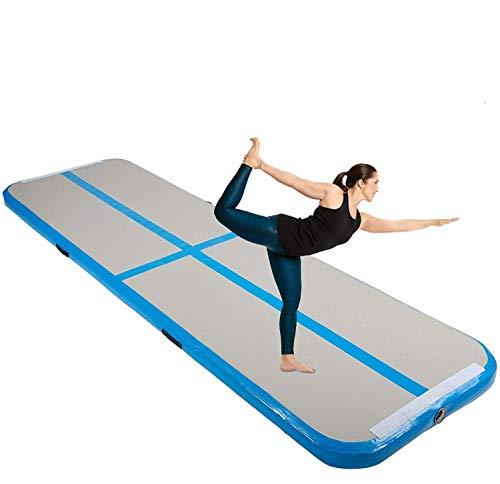 HIRAM 300 x 100cm Tappetino da Ginnastica Gonfiabile in PVC Air Track Pista Tumbling Materassino Aria Fitness per Yoga Taekwondo 300 x 100 x 10 cm (Blu)