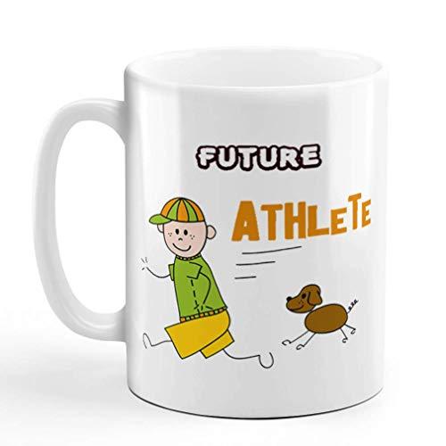N\A Taza de café 11 onzas Futuro Atleta niño Corriendo su Perro Taza de té de cerámica Solo diseño