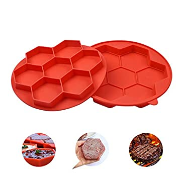 7-in-1 Burger Press Non Stick Silicone Frozen Hamburger Maker Mould Kitchen Tools for Hamburger Patty Maker Breakfast Sandwich Maker Cutlets Mould Maker  Small Size Red