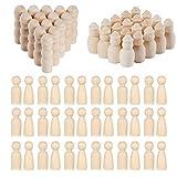 N|A Woohome 80 Pz Muñecas de Madera Peg 4 Estilo Inacabado Personas de Madera Dolls Clavija Muñeca...