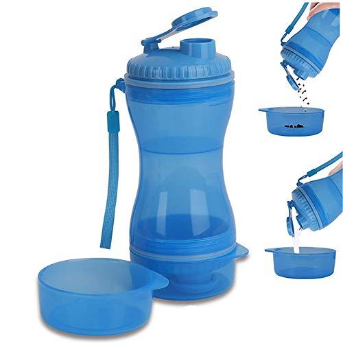 ppactvo Bebedero Perro Portatil Botellas De Agua para Perros Taza para AcompañAr Mascotas Taza De Agua Y Comida para Perros Botella De Agua De Viaje De Doble Uso para Perros Y Gatos Blue