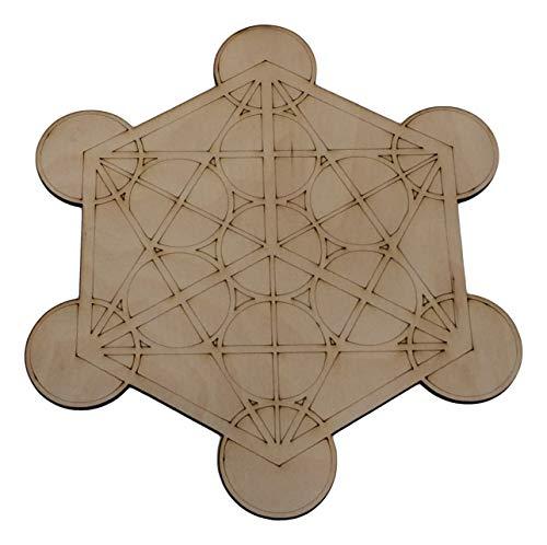NewAge Designs Medium Crystal Grid Plate Merkaba Metatron's Cube Sacred Geometry Healing Spiritual Reiki Metaphysical Wooden Crystal Grid