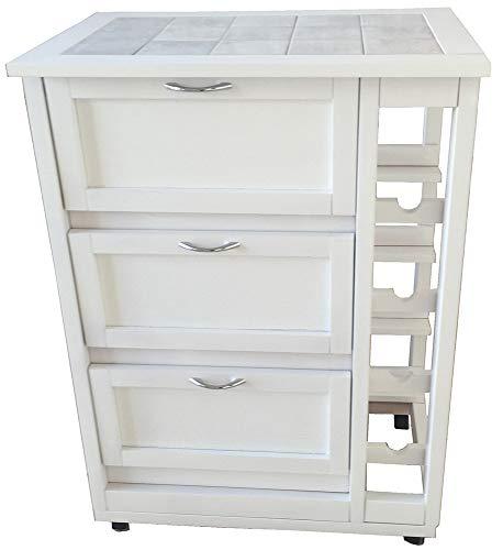 LIBEROSHOPPING.eu - LA TUA CASA IN UN CLICK Carrello mobiletto da Cucina con Ruote Ante a ribalta e portabottiglie Laterale Legno (Bianco)