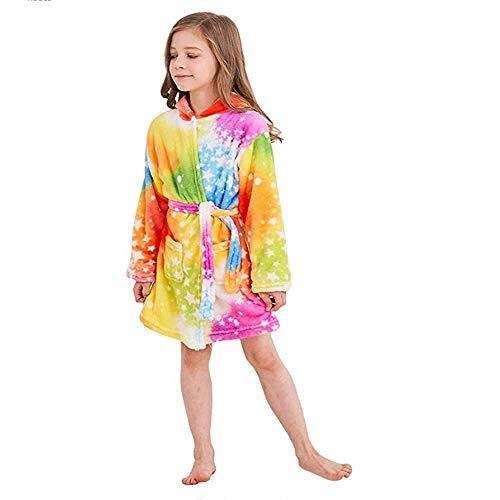 ZHANG Badjas voor kinderen en meisjes, van 100% katoen, badjas met capuchon Unicorn, badjas