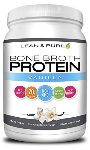 Lean & Pure Bone Broth Protein Powder, Non GMO, 20g of Protein, Low carb, Paleo Friendly, Vanilla Flavor, 389g