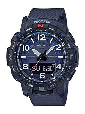 Casio Men's Pro Trek Quartz Sport Watch with Resin Strap, Blue, 22.2 (Model: PRT-B50-2CR)