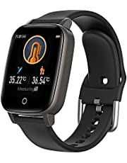 Decdeal Smart Watch with Body Temperature Blood Pressure Blood Oxygen Heart Rate Sleep Monitor, IP67 Waterproof Tracker Fit Smart Watch with Step Counter Call Message for Women Men