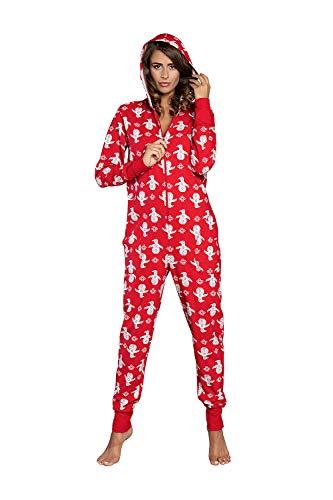 Pijama de algodón para mujer, mono, cálido, mono de manga larga con capucha, ropa de noche para Navidad, modelo otoño invierno 2020 rojo M