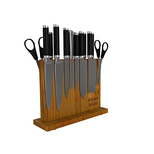 Kitchen Seven Knife Block Magnetic Knife Holder with 18 Powerful Magnetic Boards, 100% Pure Bamboo...