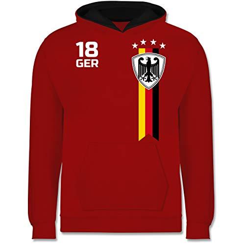 Fußball-Europameisterschaft 2021 Kinder - WM Fan-Shirt Deutschland - 152 (12/13 Jahre) - Rot/Schwarz - Deutschland Pulli - JH003K - Kinder Kontrast Hoodie