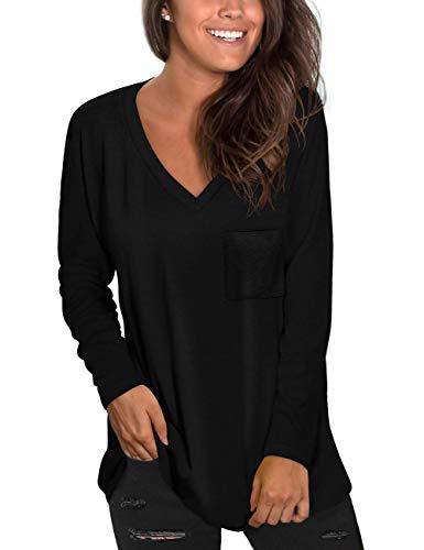 NSQTBA V Neck Long Sleeve Shirts for Women Black Tunic Tops for Leggings M