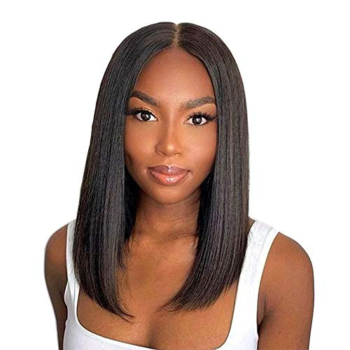 LONGQI Short Bob Straight Hair Lace Front Synthetic Wig, Natural Looking Middle Parting Blunt Cut Shoulder Length Wig for Women Natural Black 1B Color 14 Inch