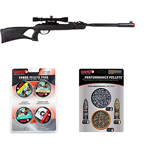 Gamo Swarm Fusion 10X Gen2 Air Rifle .177 Cal w 2 Combo Packs of Assorted (Magnum x 250,Masterpoint x 250,Hunter x 250,Match x 250) and Pellets (PBA x 50,PBA Armor x 40,RED FIRE x 150,Rocket x 150)