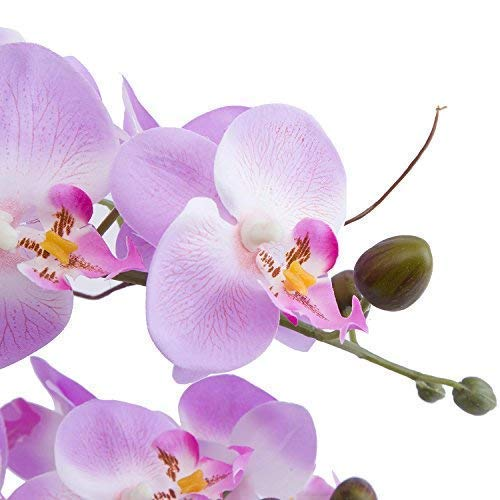 Lifelike Large Flower Arrangement with Decorative Vase Full Artificial Orchid Plant with Real Looking Table Centerpiece (Light Purple)