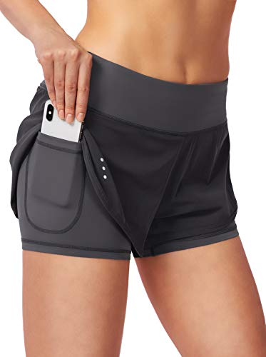 Women's 2 in 1 Running Shorts Workout Athletic Gym Yoga Shorts for Women with Phone Pockets Dark Grey