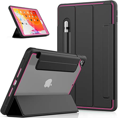 SEYMCY iPad 10.2 Case 2020 iPad 8th Generation / 2019 iPad 7th Generation Case with Screen Protector [Trifold Viewing Stand] [Auto Sleep/Wake Cover] Clear Back Cover for 10.2 iPad 8/iPad 7- Black/Rose