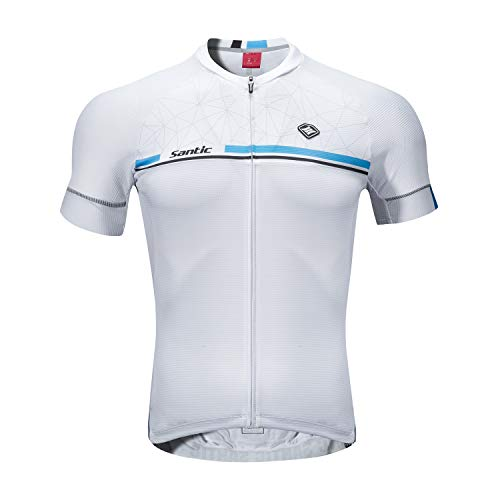 Santic Maillot Ciclismo Hombre Verano Maillot Bicicleta Montaña Bike MTB Camiseta con Mangas Cortas Blanco EU S
