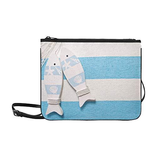 WYYWCY Marine Dekoration und auf blauem Shabby-Muster benutzerdefinierte hochwertige Nylon dünne Clutch Cross Body Bag...